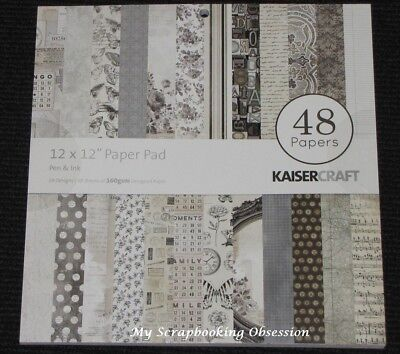 "Kaisercraft 'PEN & INK' 12x12"" Paper Pad 48 Sheets (24 Designs x2) Sepia KAISER"
