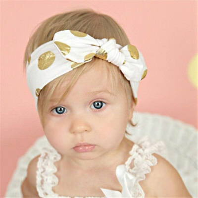 Baby Infant Bronzing Dot Hair Band Girls Bowknot Headband Photography Props