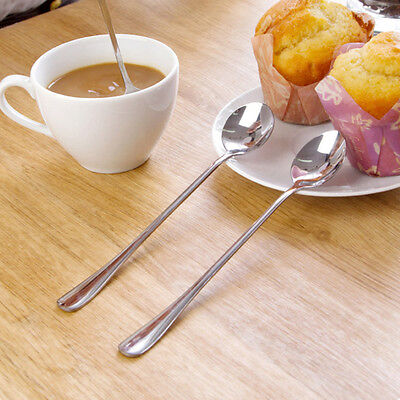 2Pcs Stainless Steel Long Handle Ice Cream Dessert Cutlery Coffee Tea Spoons ~