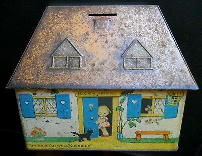 CRAWFORD c.1933  MABEL LUCIE ATTWELL - BICKY HOUSE-  Tin Plate Money Box Tin #2