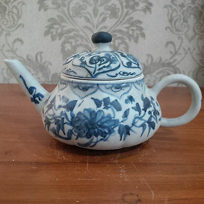Old and Antique Chinese Qing Kangxi Blue and White Porcelain Yixing Style Teapot
