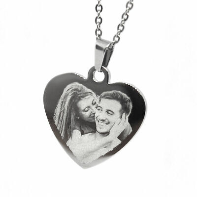 Personalised Photo/Text Engraved Heart Pendant Necklace. Stainless Steel