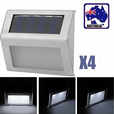 4X Outdoor Solar LED Deck Garden Stair Step Lights Stainless Steel Wall Light OS