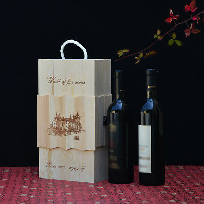 Pine Wooden Dual Wine Storage Box Space Bottle Carrier Case Wedding XMAS Present