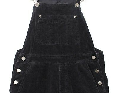 "Vtg Girls Teens Junior Gap Black Velour Velvety Dungarees W26-30 L27"" Xs"