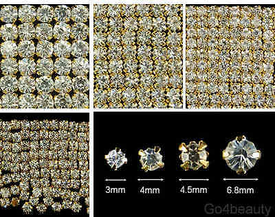 Sew On Clear Crystal Diamante Rhinestones (Gold Color Rose Montee) - Aus Stock