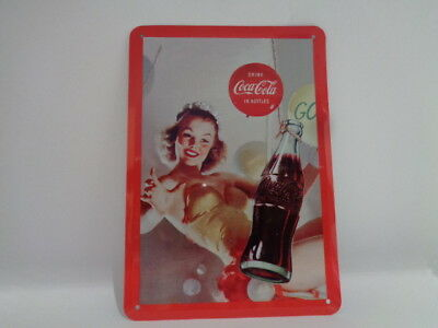 "Blechschild "" Drink Coca Cola in Bottles "" ca 145 x 100 mm"