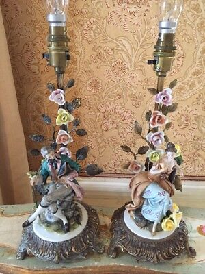 Porcelain Figure Capodimonte Table Lamps Italian Tyche Tosca Man/Woman £150  Each