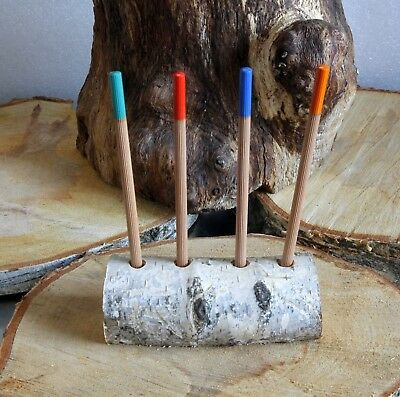 Silver White Birch Tree WOOD LOG Branch BARK  Pen / Pensil Holder Rustic Decor
