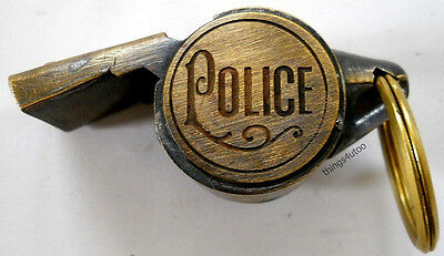 Police Antique finish brass whistle #E681