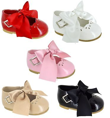 Childrens Kids Baby Girls Infants Summer Party Comfy Patent Bow Shoes Wedding Sz
