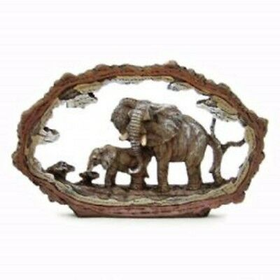 Elephant Scene  Figurine  polyresin figure of 2 elephants.NEW IN BOX