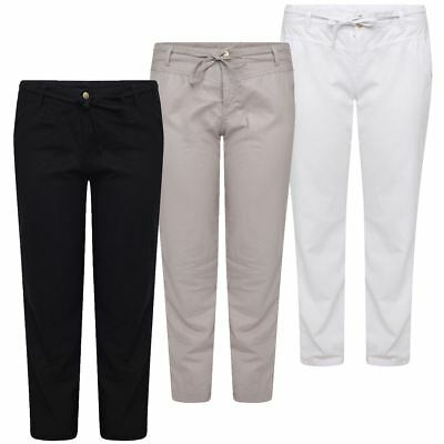 Womens Ladies Linen Trousers Plus Size Summer Pants Casual Holiday Beach Chinos