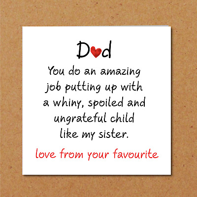 whiny sister fathers day card from son daughter bitchy favourite