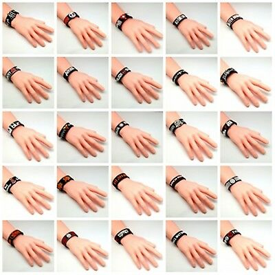 New Wristband Rubber Silicone Bracelet Cuff Heavy Metal Music Rock Band Punk