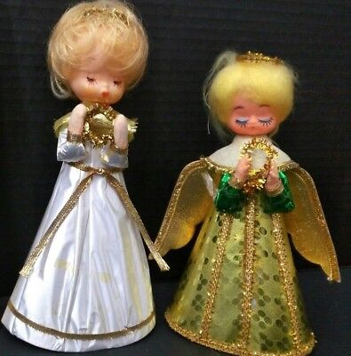 2 Vintage Christmas Angels Tree Toppers Table Decor Doll Face Made In Japan