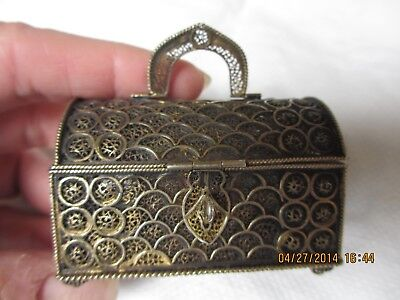 Antique Sterling Silver Filigree Box Hinged Lid And Handle Amazing Workmanship!
