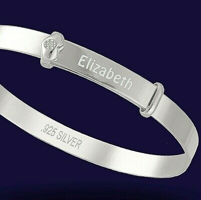 Personalised 925 Solid Silver Baby's first Real Diamond baby Expanding Bangle