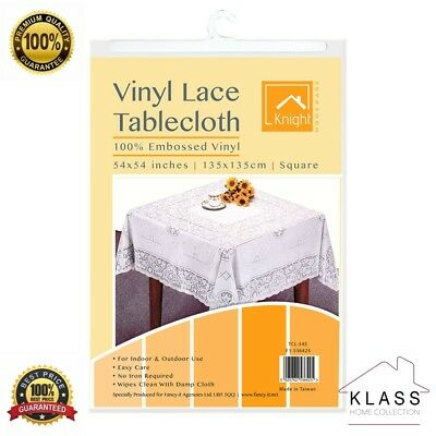 Square VINYL WHITE EMBOSSED LACE TABLE CLOTH TABLE COVER KITCHEN