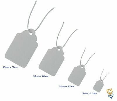 Jewellery Tags Swing Tickets Gift Price String Tie On Labels WHITE  24mm x 37mm