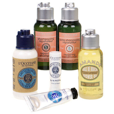 L' Occitane Body Care Set - Body & Hand Lotion Shower Gel Lip Balm Hair Repair