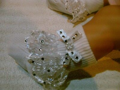 Romany Bling  Girls Babies  Frilly  Lace Socks With Crystals Christening Wedding