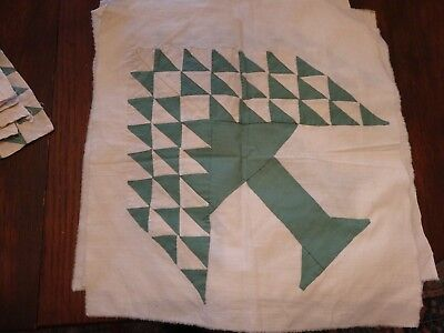 Antique Vtg Quilt Blocks Pieces Sage Green Off White Muslin Color Tree Triangles