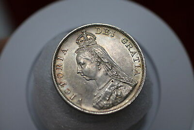 Uk Gb Double Florin 1887 Scarce High Grade Victoria A77 #k3164