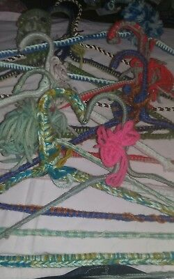 10 Vintage Clothes Hangers Hand Knit Crochet Retro Yarn Covered Lot Cottage Chic
