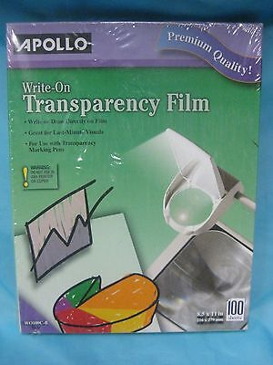 NEW Apollo Write On Transparency Film Clear 100 Sheets 8.5 x 11 Inches