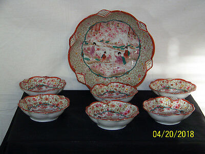 Japanese Meiji Period Original Hand Painted Geisha Kutani 7 Bowl Set