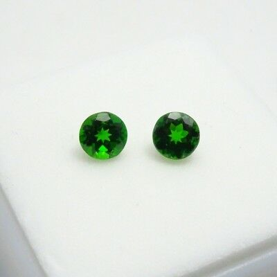 Matched Pair 5mm Round Russian Chrome Diopside - 0.90CTW+  5mm  Loose Gemstones
