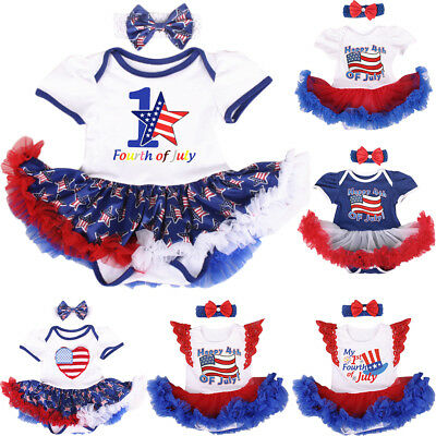 2289e119c Newborn My 1st Fourth of July Tutu Romper Dress Parade Outfit for Baby Girl  2pcs