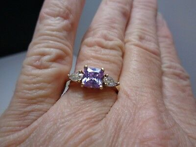 Princess Cut Purple CZ & Clear Pear CZ Sterling Silver Ring Yellow Plated Size 8