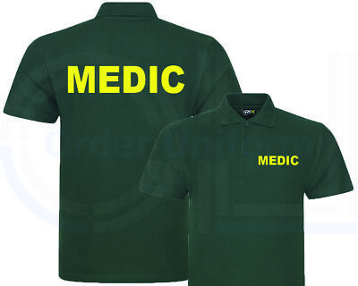 Medic Bottle Green Polo Shirt, Workwear, Medical, First Aid, Event Club S-7Xl