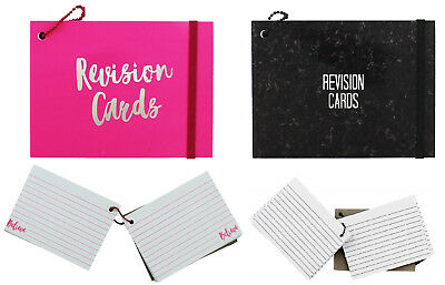 Neon Revision Paper Cards Record Flash Prompt Cue White Double Sided Ruled Lined