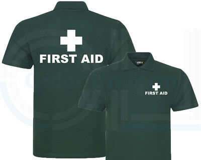 First Aid Bottle Green Polo Shirt, Workwear, Medical, First Aid Event Club S-7Xl