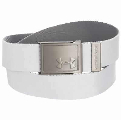 Under Armour Boy's UA Golf Solid Web Belt White Gray Reversible OSFA Webbing