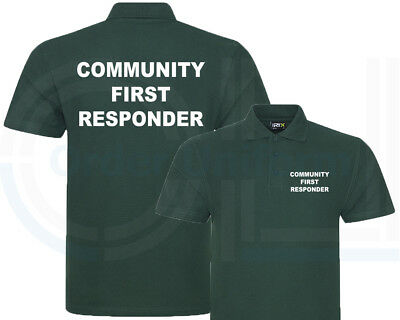 Community First Responder Bottle Green Polo Shirt, Workwear, Medical Show, S-7Xl