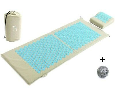 kit d'acupression XL acupuncture massage relaxation sport 130x50x2,5cm gris/tur