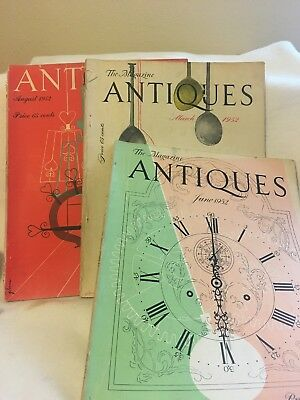 Vtg. The Magazine Antiques/ March, June, August 1952 /Lot Of 3