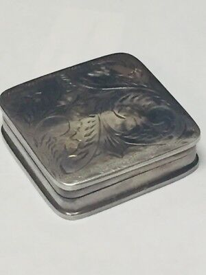 Vintage Sterling Silver Hand Engraved Pill Box