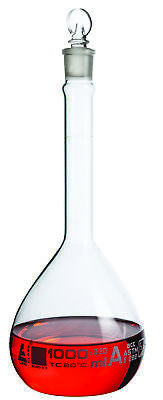 1000ml ASTM Volumetric Flask w/ Glass Stopper - Class A - White Markings -