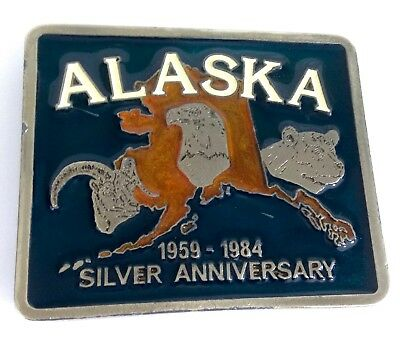 Vintage 1984 Alaska Silver Anniversary Collectible Limited Edition Belt Buckle