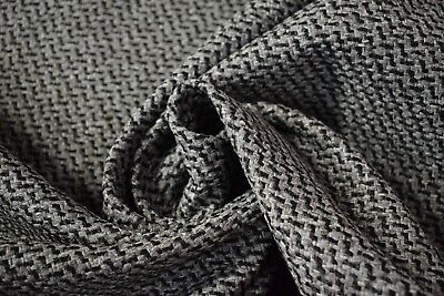 Vintage Gray Black Canvas Tweed Fabric 55 W Seat Upholstery Church