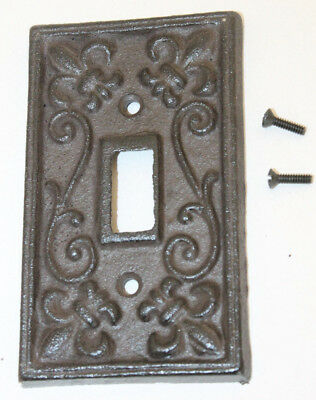 Rustic Cast Iron French Fleur De Lis Single Light Switch Outlet Plate Cover