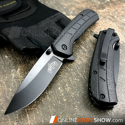 SPRING ASSISTED TACTICAL FOLDING POCKET KNIFE Open Assist EDC Black Bowie Blade