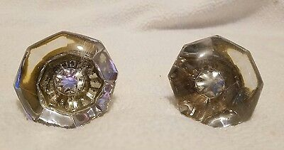 ANTIQUE GLASS or CRYSTAL Octagon DOOR KNOB Set of 2 - Vintage Hardware Victorian