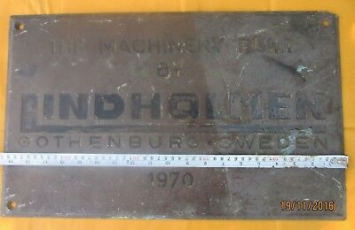 Vintage Ships Engine Builder Brass Original Plaque/Plate LINDHOLMEN 1970