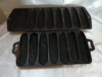 2 Vintage Cast Iron 9 & 7 Ear Corn Bread Muffin Mold  Usa